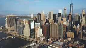 Aerial view of the Manhattan downtown in new York, America. Drone flying away from the city with skyscrapers. stock footage
