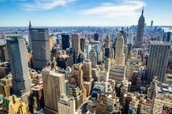 Aerial view of Manhattan and the Empire State Building stock photography