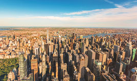 Aerial view of Manhattan looking east from Midtown Stock Images