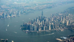 Aerial view of Manhattan stock video