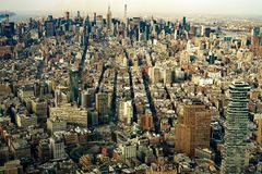 Aerial view of Manhattan New York City. Wide view royalty free stock photography