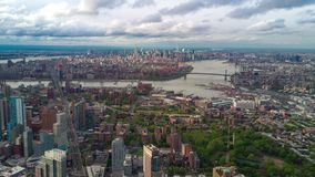 Aerial view of Manhattan, New York City. Skyscraper around. Sunny day, aerial timelapse dronelapse. Clouds on background stock video