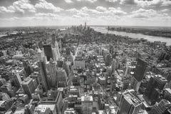 Aerial view of the Manhattan, New York, USA. Black and white aerial view of the Manhattan, New York City, USA Stock Photos