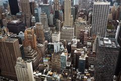 Aerial view of Manhattan roofs royalty free stock images