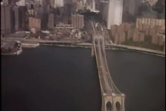 Aerial view of Manhattan skyline from helicopter stock footage