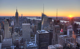 Aerial view of Manhattan skyline, New York City skyline Royalty Free Stock Photo