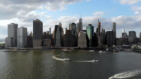 Aerial view of Manhattan Skyline, New York, USA. Panoramic skyline with skyscrapers and financial district and Hudson river, New York, USA stock video