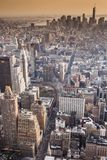 Aerial view of Manhattan skyline at sunset, New York City Stock Photography