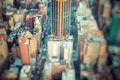 Aerial view of Manhattan skyline at sunset, New York City Royalty Free Stock Photo