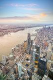 Aerial view of Manhattan skyline at sunset, New York City royalty free stock image