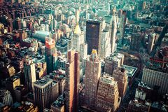 Aerial view of Manhattan skyline at sunset, New York City Royalty Free Stock Photos