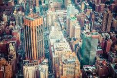 Aerial view of Manhattan skyline at sunset, New York City Stock Photo