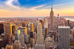 Aerial view of Manhattan at sunset. Aerial view of New York City Manhattan at sunset Royalty Free Stock Photo