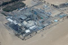 Aerial View of a Manufacturing Faciltiy. Aerial view of the Manufacturing Facility not far from Paracas, Peru stock images
