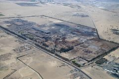 Aerial View of a Manufacturing Faciltiy. Aerial view of the Manufacturing Facility not far from Paracas, Peru royalty free stock photo