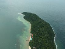 Aerial view of Manukan Island of Sabah, Malaysia. Clear green ocean. Manukan Island is the most visited island in Sabah. The image. Contain soft focus, noise Royalty Free Stock Images
