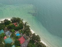 Aerial view of Manukan Island of Sabah, Malaysia. Clear green ocean. Manukan Island is the most visited island in Sabah. The image. Contain soft focus, noise Stock Photos