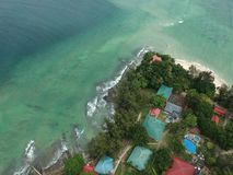 Aerial view of Manukan Island of Sabah, Malaysia. Clear green ocean. Manukan Island is the most visited island in Sabah. The image. Contain soft focus, noise Stock Photo
