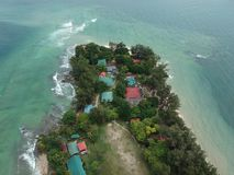 Aerial view of Manukan Island of Sabah, Malaysia. Clear green ocean. Manukan Island is the most visited island in Sabah. The image. Contain soft focus, noise Stock Images