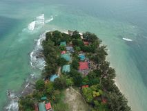 Aerial view of Manukan Island of Sabah, Malaysia. Clear green ocean. Manukan Island is the most visited island in Sabah. The image. Contain soft focus, noise Royalty Free Stock Photo