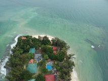 Aerial view of Manukan Island of Sabah, Malaysia. Clear green ocean. Manukan Island is the most visited island in Sabah. The image. Contain soft focus, noise Stock Image