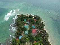 Aerial view of Manukan Island of Sabah, Malaysia. Clear green ocean. Manukan Island is the most visited island in Sabah. The image. Contain soft focus, noise Royalty Free Stock Photos