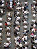 Aerial view of many people sitting in a cafe stock images