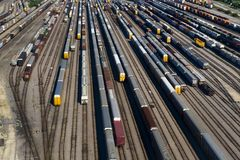 Aerial View of Many Train Cars on Tracks Royalty Free Stock Image