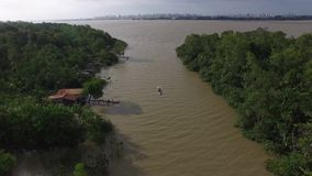 Aerial view of Marajo river in Belem do Para, Brazil stock footage