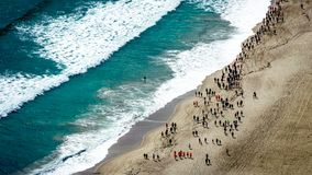 Aerial view of a marathon across the beach. From the top of Mount Maunganui Tauranga, Bay of Plenty. New Zealand. stock photography