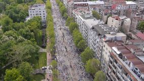 Aerial view of marathon runners stock video