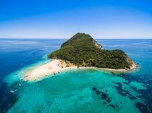 Aerial view of Marathonisi Island in Zakynthos Zante island, i. N Greece Stock Photo