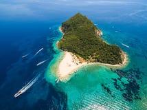 Aerial view of Marathonisi Island in Zakynthos Zante island, i. N Greece Stock Images