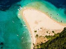 Aerial view of Marathonisi Island in Zakynthos Zante island, i. N Greece Stock Image
