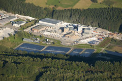 Aerial view : Marble industry and water treatment. Plant Stock Images