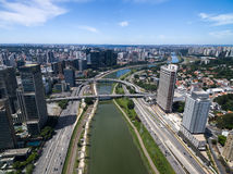 Aerial view of Marginal Pinheiros in Sao Paulo, Brazil Royalty Free Stock Images