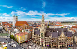 Aerial view on Marienplatz town hall. And Frauenkirche in Munich, Germany stock photography