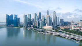 Aerial view of Marina Bay area Stock Images