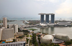 Singapore Marina. Aerial view of Marina Bay with Esplanade Theater on foreground and harbour on horizont, Singapore Stock Images