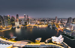 Aerial view of the marina bay of the singapore city Royalty Free Stock Photos