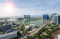 Aerial view of marina bay in Singapore city with nice sky Royalty Free Stock Images