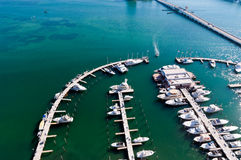 Aerial view of Marina in Biscayne Bay Stock Images