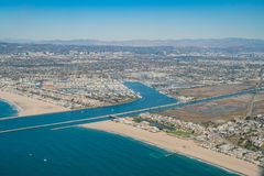 Aerial view of Marina Del Rey and Playa Del Rey. Aera from airplane, Los Angeles, California Royalty Free Stock Photo