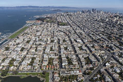 Aerial View of the Marina District in San Francisco California Royalty Free Stock Photography