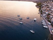 Aerial view marina of Ermioni at twilight, Aegean sea. royalty free stock photos