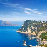 Aerial view of Marina Grande, Capri island, Italy stock photo