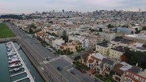 San Francisco marina homes apartments city skyline urban sprawl stock video footage