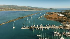 Aerial view of marina and sailboats. Lefkas, Lefkada Island, Greece. Aerial view of marina and sailboats stock footage