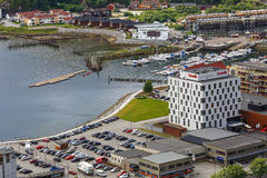 Aerial view of marina and Scandic hotel in Namsos, Norway. Aerial view of Scandic hotel, parking and marina with boats in the Namsos, Norway Stock Image