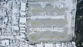 Aerial view of marina with small boats in winter day. royalty free stock images